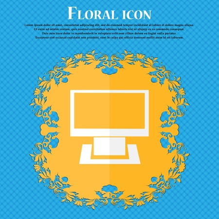 widescreen: Computer widescreen monitor sign icon. Floral flat design on a blue abstract background with place for your text. Vector illustration Illustration