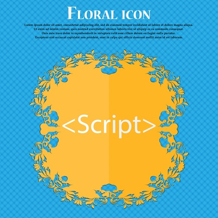 javascript: Script sign icon. Javascript code symbol. Floral flat design on a blue abstract background with place for your text. Vector illustration