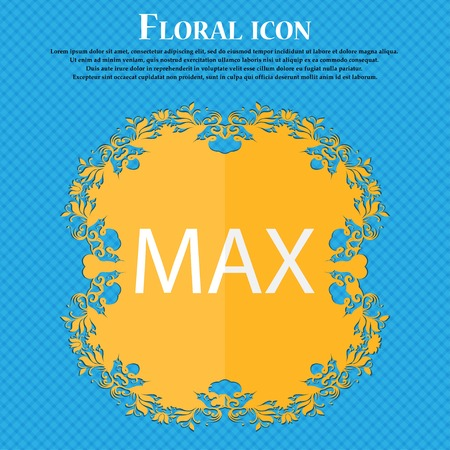 extremity: maximum sign icon. Floral flat design on a blue abstract background with place for your text. Vector illustration