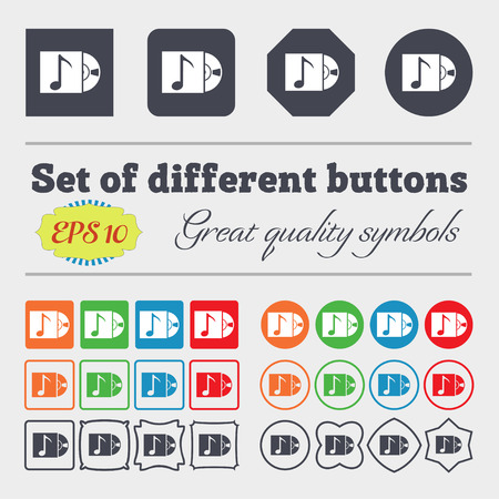 cd player: cd player icon sign. Big set of colorful, diverse, high-quality buttons. Vector illustration