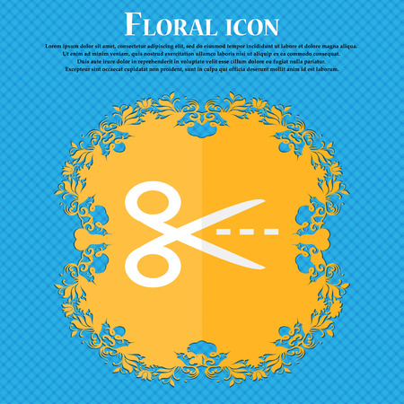 Scissors with cut dash dotted line sign icon. Tailor symbol. Floral flat design on a blue abstract background with place for your text. Vector illustration Illustration