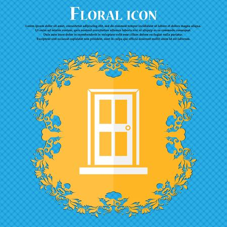 modern interior design: Door icon sign. Floral flat design on a blue abstract background with place for your text. Vector illustration