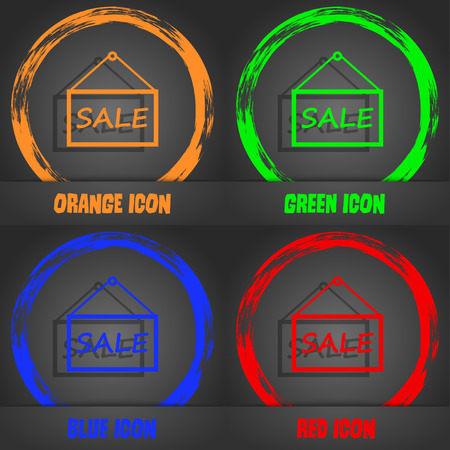 sales representative: SALE tag icon sign. Fashionable modern style. In the orange, green, blue, red design. Vector illustration Illustration
