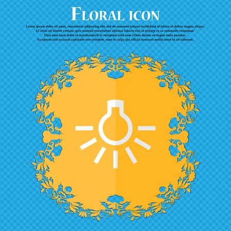 fluorescent lights: light bulb. Floral flat design on a blue abstract background with place for your text. Vector illustration