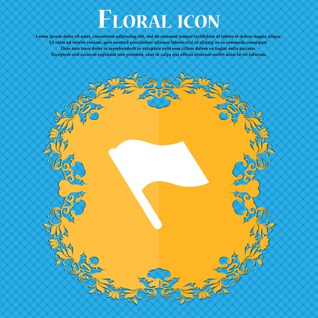 abort: Finish, start flag . Floral flat design on a blue abstract background with place for your text. Vector illustration Illustration