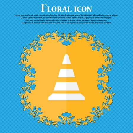 road cone icon. Floral flat design on a blue abstract background with place for your text. Vector illustration