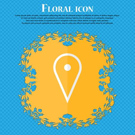 web portal: map poiner. Floral flat design on a blue abstract background with place for your text. Vector illustration Illustration