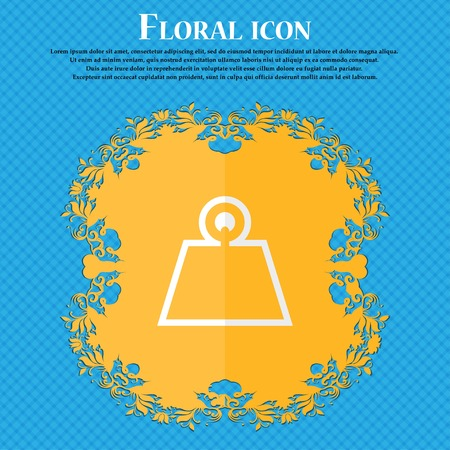 cast iron: Weight. Floral flat design on a blue abstract background with place for your text. Vector illustration Illustration