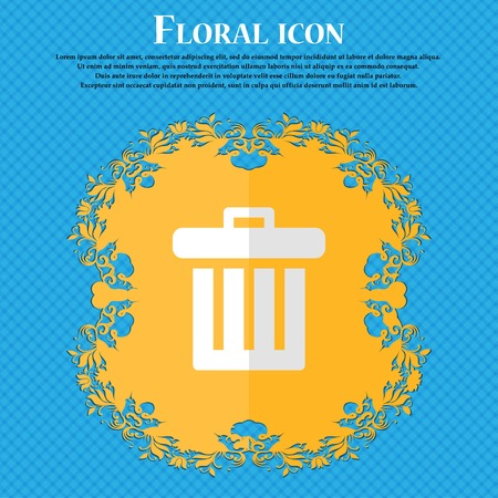 refuse bin: Recycle bin. Floral flat design on a blue abstract background with place for your text. Vector illustration