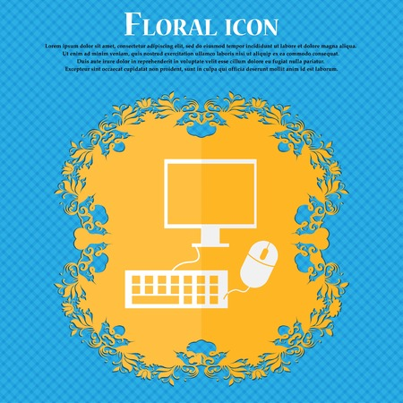 blue widescreen widescreen: Computer widescreen monitor, keyboard, mouse sign icon. Floral flat design on a blue abstract background with place for your text. Vector illustration Illustration
