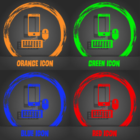 blue widescreen widescreen: smartphone widescreen monitor, keyboard, mouse sign icon. Fashionable modern style. In the orange, green, blue, red design. Vector illustration Illustration