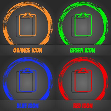 attach: File annex icon. Paper clip symbol. Attach sign. Fashionable modern style. In the orange, green, blue, red design. Vector illustration