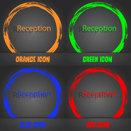 reception table: Reception sign icon. Hotel registration table symbol. Fashionable modern style. In the orange, green, blue, red design. Vector illustration