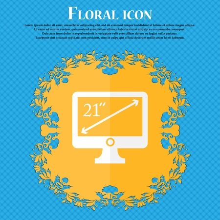 inches: diagonal of the monitor 21 inches icon sign. Floral flat design on a blue abstract background with place for your text. Vector illustration