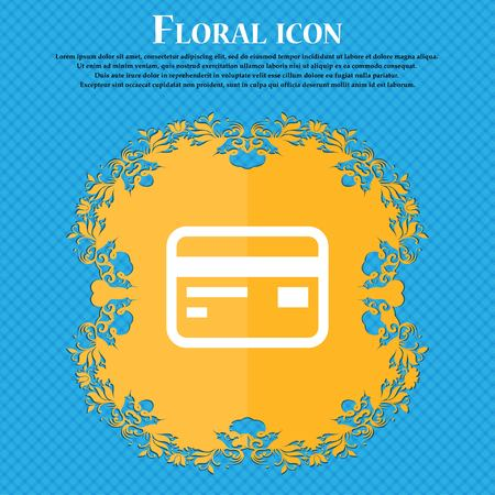 cashless: Credit, debit card . Floral flat design on a blue abstract background with place for your text. Vector illustration