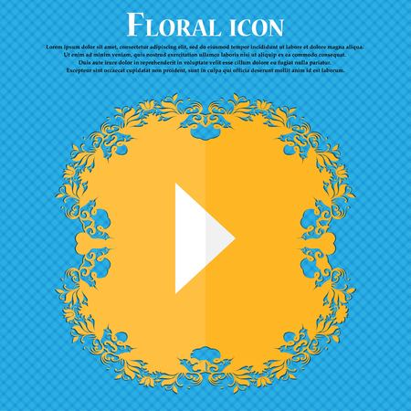 inactive: play button . Floral flat design on a blue abstract background with place for your text. Vector illustration