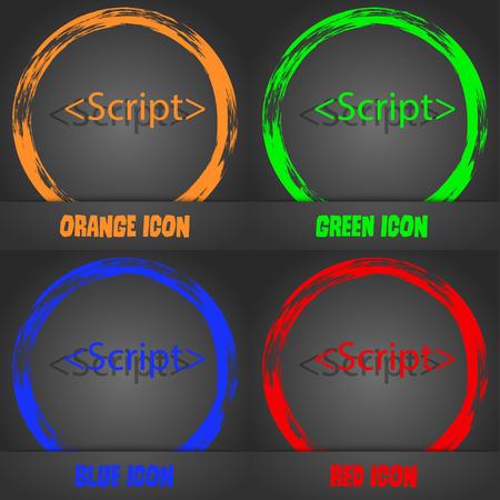 javascript: Icono de signo Script. S�mbolo de c�digo Javascript. Estilo moderno de moda. En el, dise�o anaranjado, verde, azul rojo. Ilustraci�n vectorial