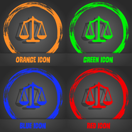 truthfulness: Scales balance. Fashionable modern style. In the orange, green, blue, red design. Vector illustration
