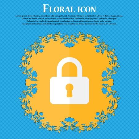 pad lock: Pad Lock . Floral flat design on a blue abstract background with place for your text. Vector illustration