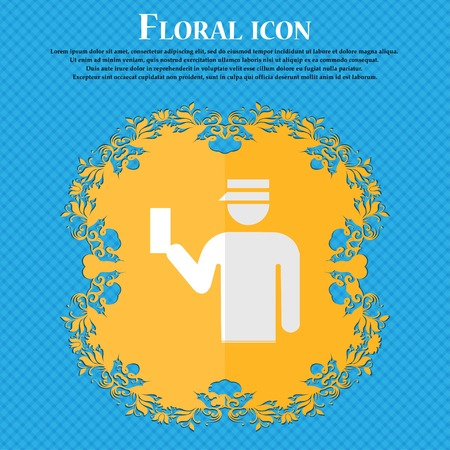 inspector: Inspector. Floral flat design on a blue abstract background with place for your text. Vector illustration