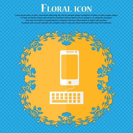 input device: Computer keyboard and smatphone Icon. Floral flat design on a blue abstract background with place for your text. Vector illustration