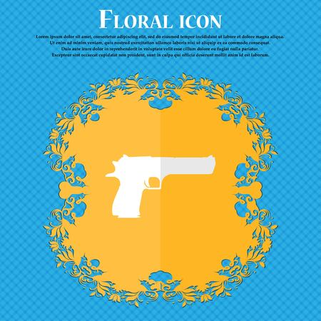 army gas mask: gun. Floral flat design on a blue abstract background with place for your text. Vector illustration Illustration