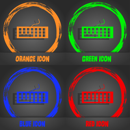 input device: Computer keyboard Icon. Fashionable modern style. In the orange, green, blue, red design. Vector illustration