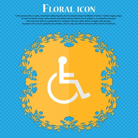 blind dog: disabled. Floral flat design on a blue abstract background with place for your text. Vector illustration Illustration