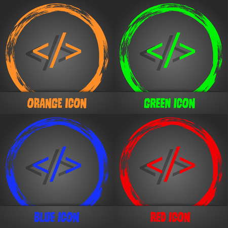 hypertext: Code sign icon. Programming language symbol. Fashionable modern style. In the orange, green, blue, red design. Vector illustration