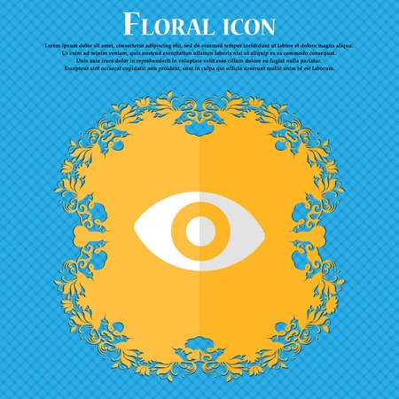 sense: sixth sense, the eye. Floral flat design on a blue abstract background with place for your text. Vector illustration Illustration
