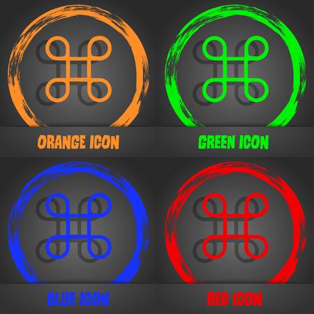 maestro: Keyboard Maestro icon. Fashionable modern style. In the orange, green, blue, red design. Vector illustration