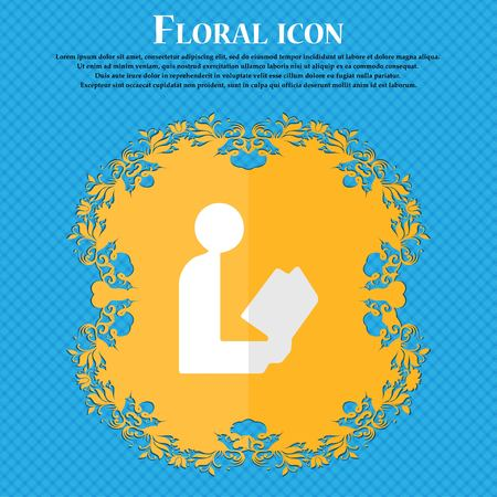 videobook: read a book. Floral flat design on a blue abstract background with place for your text. Vector illustration