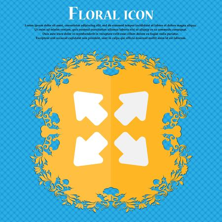 screen size: Deploying video, screen size . Floral flat design on a blue abstract background with place for your text. Vector illustration Illustration