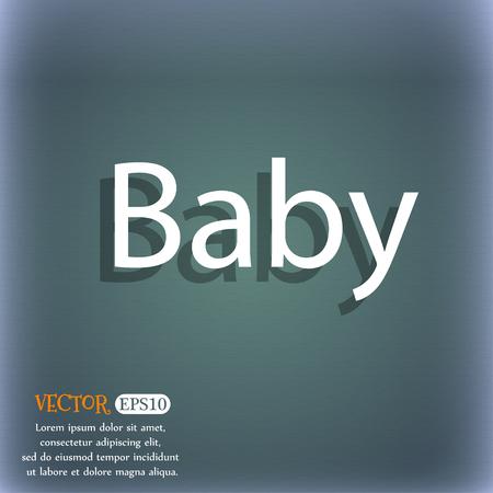 bebe a bordo: Beb� en la Muestra de la tarjeta de iconos. Infantil en s�mbolo de precauci�n coche. Pez�n chupete de beb�. En el resumen de antecedentes azul-verde con la sombra y el espacio para el texto. Ilustraci�n vectorial Vectores