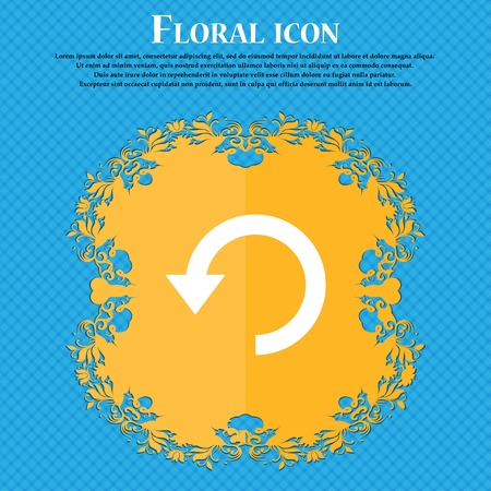 groupware: Upgrade, arrow, update . Floral flat design on a blue abstract background with place for your text. Vector illustration