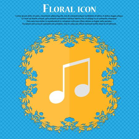 ringtone: musical note, music, ringtone. Floral flat design on a blue abstract background with place for your text. Vector illustration