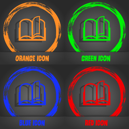 reading app: Book sign icon. Open book symbol. Fashionable modern style. In the orange, green, blue, red design. Vector illustration