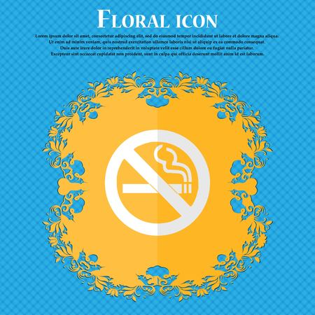 cigar shape: no smoking. Floral flat design on a blue abstract background with place for your text. Vector illustration