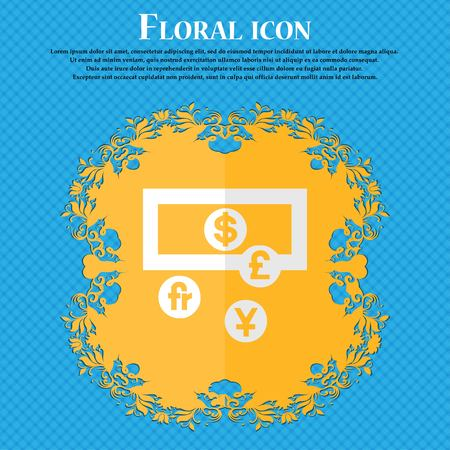 australian money: currencies of the world. Floral flat design on a blue abstract background with place for your text. Vector illustration