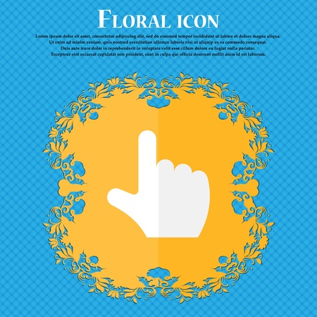 www arm: pointing hand . Floral flat design on a blue abstract background with place for your text. Vector illustration