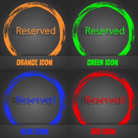 r�serv�: Reserved sign icon. Fashionable modern style. In the orange, green, blue, red design. Vector illustration Illustration