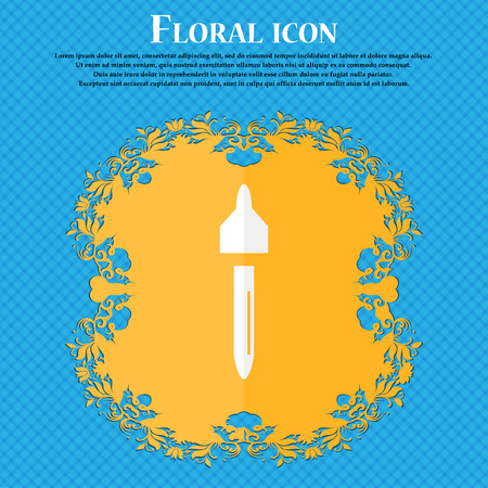 procreation: dropper sign icon. pipette symbol. Floral flat design on a blue abstract background with place for your text. Vector illustration