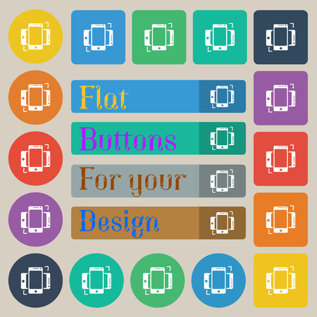 data synchronization: Synchronization sign icon. smartphones sync symbol. Data exchange. Set of twenty colored flat, round, square and rectangular buttons. Vector illustration