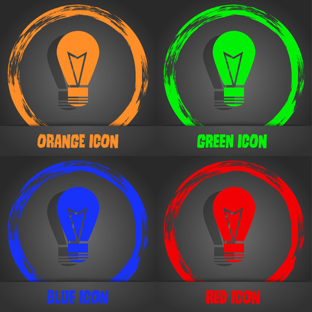 idea symbol: Light lamp sign icon. Idea symbol. Lightis on. Fashionable modern style. In the orange, green, blue, red design. Vector illustration
