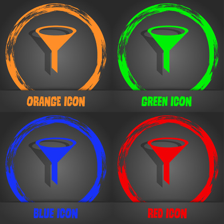 filtering: Funnel icon sign. Fashionable modern style. In the orange, green, blue, red design. Vector illustration