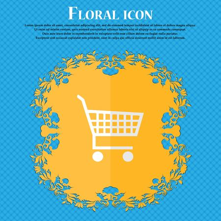 time account: shopping cart. Floral flat design on a blue abstract background with place for your text. Vector illustration