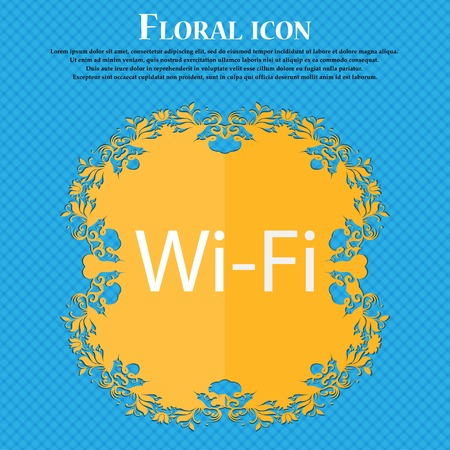 free place: Free wifi sign. Wi-fi symbol. Wireless Network icon. Floral flat design on a blue abstract background with place for your text. Vector illustration