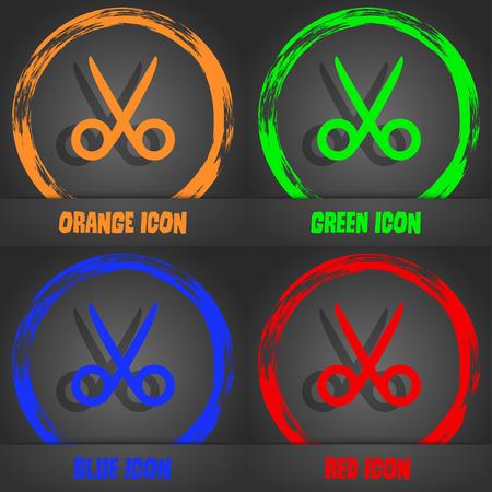 Scissors hairdresser sign icon. Tailor symbol. Fashionable modern style. In the orange, green, blue, red design. Vector illustration Illustration