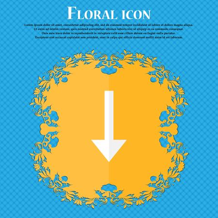 down load: Arrow down, Download, Load, Backup . Floral flat design on a blue abstract background with place for your text. Vector illustration Illustration