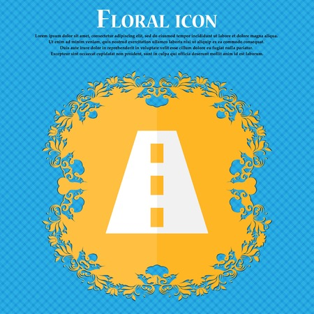 bitumen: Road . Floral flat design on a blue abstract background with place for your text. Vector illustration